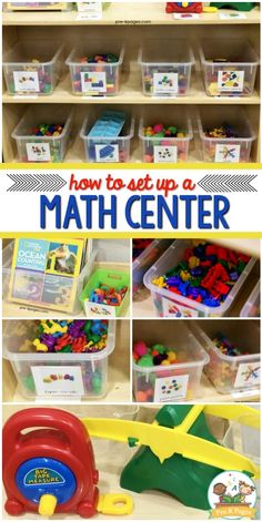 Center in Preschool How to set up a math center in your preschool, pre-k, or kindergarten classroom. Math center materials, labels and more!List of record labels For lists of record labels, see: Preschool Classroom Setup, Kindergarten Centers, Preschool Curriculum, Preschool Teachers, Montessori Elementary, Montessori Preschool, Preschool Education, Homeschool, Learning Centers Kindergarten