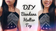 DIY Bandana Halter Top! tumblr, summer, cute, no sew