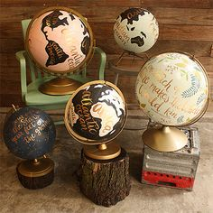 Hand Painted Globes - I'd love an old globe, from the thrift store, garage sale, occasional shop. Globe Projects, Craft Projects, Painted Globe, Hand Painted, Old Globe, Globe Art, Josie Loves, Daily Holidays, Idee Diy