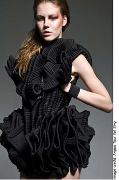 Fashion meets Art - zero waste dress made with pleated fabric scraps, layered and twisted to create a 3D silhouette; sculptural fashion // Angus Tsui Yat Sing