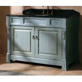 """48"""" Vanity- Ancient Blue in main level half bath and Antique White in guest bedroom"""