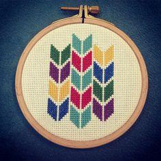 modern cross stitch geometric colorful chevron