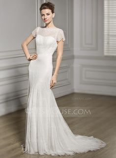Trumpet/Mermaid Scoop Neck Sweep Train Lace Wedding Dress (002056627) - JJsHouse