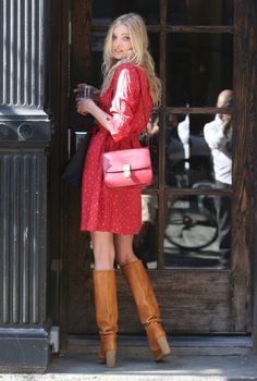 Spring / Summer - Fall / Winter - street chic style - boho chic style - brown heeled knee high boots + red floral shirt dress + red messenger bag