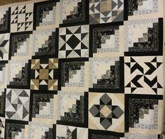Beige/Black Log Cabin Straight Furrows as a set for a block sampler. Lovely!
