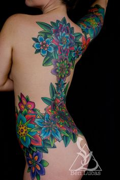 Done by Ben Lucas at Eye of Jade Tattoo in Chico,. Bright Tattoos, Feminine Tattoos, Sexy Tattoos, Body Art Tattoos, Girl Tattoos, Sleeve Tattoos, Tattoos For Women, Tatoos, Colorful Flower Tattoo