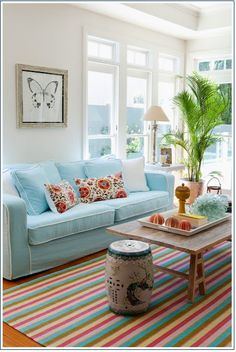 Love the striped rug!