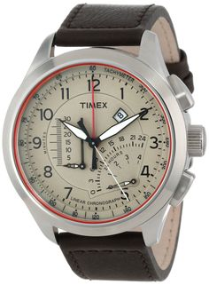 Timex Men's T2P275DH Intelligent Quartz Adventure Series Linear Indicator Chronograph Brown Leather Strap Watch