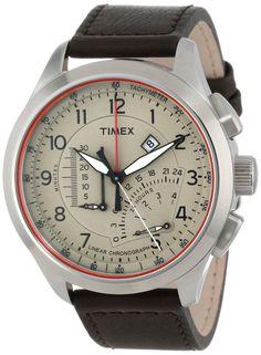 Timex Men's T2P275DH Intelligent Quartz Adventure Series Linear Indicator Chronograph Brown Leather Strap Watch