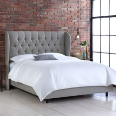 Ava Tufted Wingback Bed in Gray, KING $750