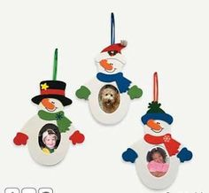 Snowman Photo Frame Ornament Craft Kit piece)/Self-ad. Picture Frame Ornaments, Picture Frame Crafts, Photo Christmas Ornaments, Christmas Arts And Crafts, Xmas Crafts, Christmas Photos, Kids Christmas, Snowman Photos, Snowmen Pictures