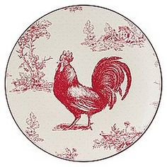 "Country Living Set of 4 Belgian Rose Rooster 9"" Salad Plates"