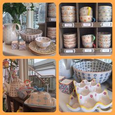 Patterned Tableware, cups, bowls, plates, tapas Visual Merchandising, Retail Display. Noras Ilkley  www.noras-shop.co.uk