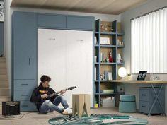 Camas Abatibles, la mejor opción para habitaciones juveniles pequeñas Camas Murphy, Desk, Furniture, Home Decor, Bed Designs, Foldable Bed, Closets, Space, Yurts