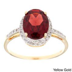 Viducci 10k Gold Garnet and 1/10ct TDW Diamond Ring (G-H, I1-I2) (Yellow Gold - Size 8), Women's, Red