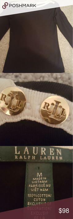 Black & White Ralph Lauren Top White stripe across the neckline that ends in Ralph Lauren initials on 2 buttons. Price negotiable. Happy Shopping! Ralph Lauren Sweaters Crew & Scoop Necks