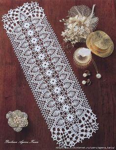 Crochet rectangle doiley using pineapple motif. Crochet Table Runner Pattern, Crochet Doily Patterns, Crochet Tablecloth, Crochet Chart, Thread Crochet, Filet Crochet, Crochet Motif, Crochet Designs, Knitting Patterns