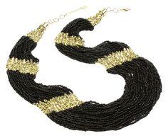 Collana in ottone e resina Boho nero/oro - L 56/61 cm | Dalani Home & Living