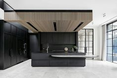 Modern Home Decor Kitchen Wood Slat Ceiling, Wood Slats, Timber Battens, Modern Kitchen Design, Interior Design Kitchen, Latest Kitchen Designs, Küchen Design, House Design, Design Ideas