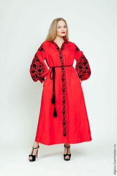 """Платья ручной работы. Вышитое платье """"Философия красного"""" ручная вышивка гладью. Ручная вышивка от Ольги Стрельцовой. Ярмарка Мастеров."""