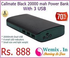 Callmate Black 20000 mah Power Bank With 3 USB Rs 888