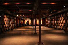 Wine barrels in Napa winery