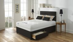 Silentnight Miracoil Deluxe Double Size 2 Drawers Divan Bed Set Ebony 2014