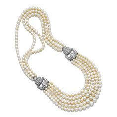 Natural pearl and diamond necklace, Drayson. Composed of natural pearls and one cultured pearl, accented with open work geometric motifs set with circular-, single-cut and baguette diamonds.