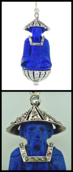 Art Deco Chinoiserie Lacloche Lapis Lazuli Diamond Pendant. Amazing pendant created by Lacloche in France in the 1920's. Fine carving on lapis lazuli, tasteful diamond accents. Signed. French hallmarks for platinum and gold. Via 1stdibs.
