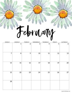 February 2021 calendar page with white daisy flowers