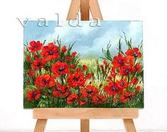"Red Poppies. 3x4"" original oil painting, gift item, red poppy flowers, red poppies"