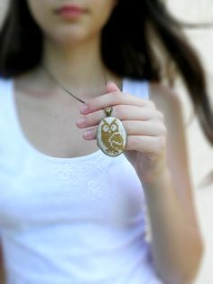 Owl Necklace /Embroidered necklace/ Cross Stitch pendant / Jewelry Chain/ bronze necklace/ back to school