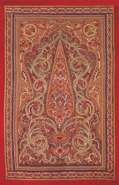 Antique Persian Textile. Silk Rashti-Duzi Embroidery on Felt Table Cover Qajar Dynasty  1795 -1925 A.D Circa 1850