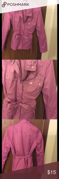 Pink Spring Jacket Coat Pink spring coat/jacket. Feels like a windbreaker material. Tie at waist and 4 pockets on the front. There is a hood inside the collar as well! Merona Jackets & Coats