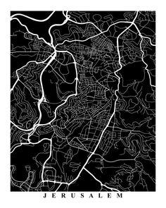 Jerusalem Street Map Art