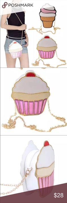 """Adorable Cupcake Crossbody purse NEW in bag Iridescent Vegan leather. 7.5""""x6.5""""x2"""" with detachable 22"""" strap drop. Next day shipping Bags Crossbody Bags"""