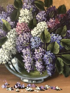Large Scandinavian original still life oil on canvas unframed signed G Krause lilac flowers in glass vase on table by OldSchoolArtRoom on Etsy