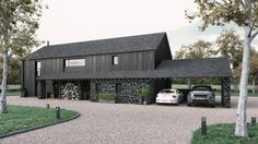 A barn style home, featuring natural stone and finished with charred larch cladding Residential Architecture, Architecture Design, Larch Cladding, Modern Barn House, Barn Style Houses, Long House, Rural House, Shed Homes, Black House