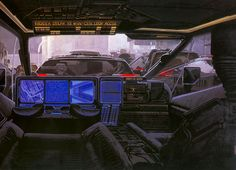 Blade Runner concept art by Syd Mead: police 'spinner' interior (xpost r/retrofuturism) : Cyberpunk Robert Mcginnis, John Waters, John Heartfield, Albert Robida, Yves Tanguy, Ciel Pastel, Jean Leon, Syd Mead, 70s Sci Fi Art