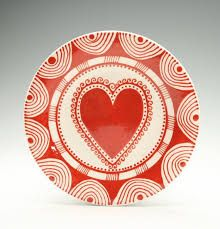 Elegant Bohemian Heart Plate Hand Painted Red And White Salad Plate Dinnerware    GREAT Etsy Site! Great Ideas