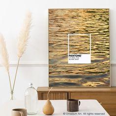 #Pantone #PantoneArt #WaterPhotography #SunsetPhotography #PantonePoster #NatureArt Gold Pantone Color, Gold Palette, Wave Art, Poster Colour, Coastal Wall Art, Water Photography, Living Room Art, Modern Decor, Balcony