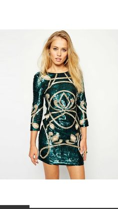 #Green and #gold #sequined #Christmas #Partydress #Asos