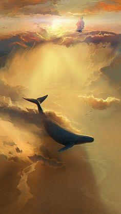 海豚 治愈系插画 壁纸