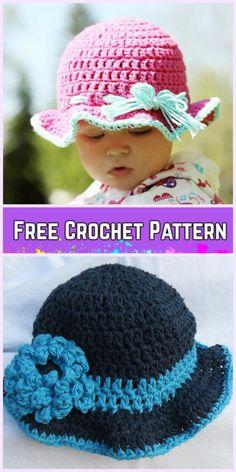 Crochet Little Girls Sun Hat Free Patterns - Crochet 6-9 Month Sun Hat Free Pattern
