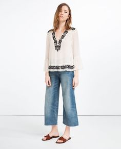 Image 1 of EMBROIDERED BLOUSE from Zara