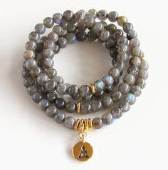 Labradorite Mala Necklace Wrap Bracelet Buddha by BBTresors