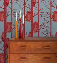 Owl wallpaper. More decor @BrightNest Blog