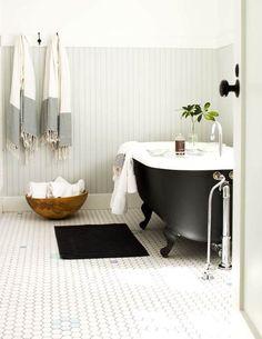 Nickey Kehoe - Interior Designer - Los Angeles - Beach - Coastal - Craftsman - Eclectic - Bathroom - White - Tiled Floors - Tub - Monochromatic - Neutrals - Towel Basket - Towels - Plant - Sleek