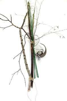 Stunning Wanddeko mit Kokosblatt Edelstahlkugel dekoriert mit Material aus der Natur u Unikat