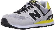 New Balance WL574V1, Damen Sneakers, Mehrfarbig (Grey/Black/Yellow), 37 EU (4.5 Damen UK) - http://schmuckhaus.online/new-balance/37-new-balance-damen-wl574v1-sneakers